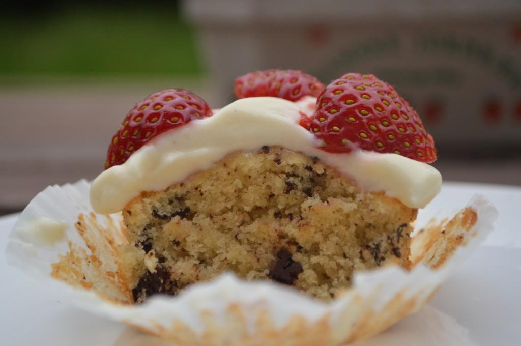 Jordbærtærte cupcakes