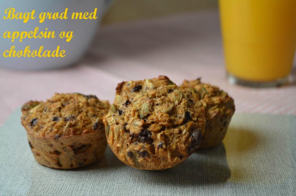 bagt grød med appelsin og chokolade tekst