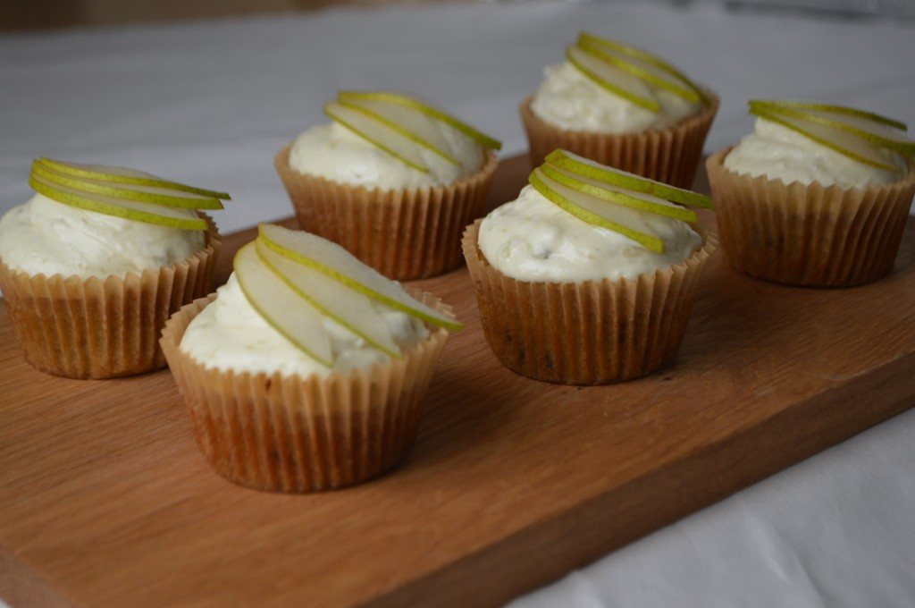 cupcakes med pære og gorgonzola opskrift