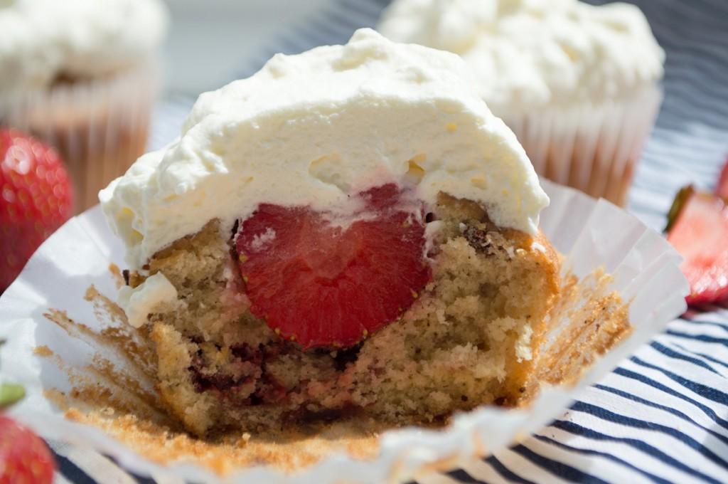 Cupcake med jordbær