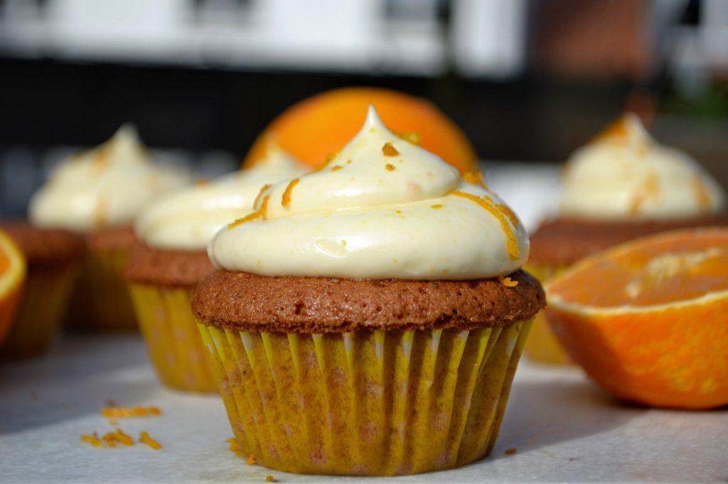 cupcakes med appelsin og olivenolie